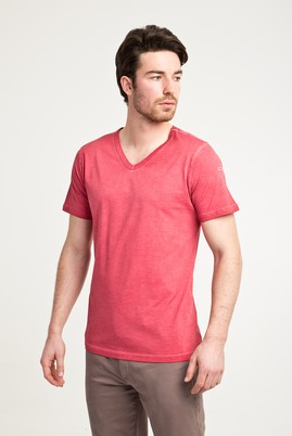 Erkek Giyim - KIRMIZI XXL Beden V Yaka Düz Slim Fit Tişört
