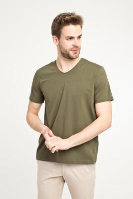 Erkek Giyim - ORTA HAKİ S Beden V Yaka Düz Regular Fit Tişört