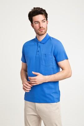 Erkek Giyim - KOBALT MAVİ L Beden Polo Yaka Düz Regular Fit Tişört