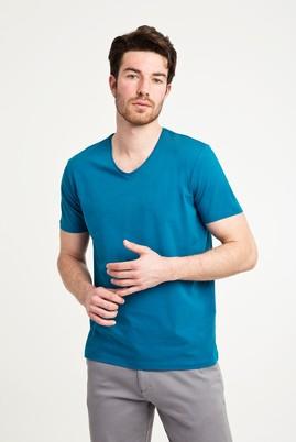 Erkek Giyim - PETROL YEŞİLİ L Beden V Yaka Düz Regular Fit Tişört