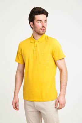 Erkek Giyim - KOYU SARI L Beden Polo Yaka Düz Regular Fit Tişört