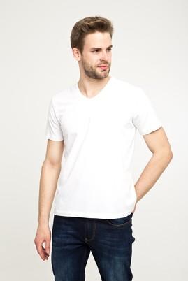 Erkek Giyim - BEYAZ M Beden V Yaka Düz Regular Fit Tişört