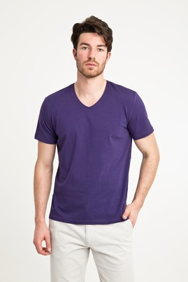 Erkek Giyim - MOR M Beden V Yaka Düz Regular Fit Tişört