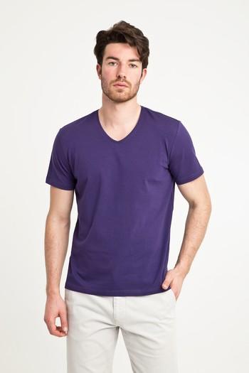Erkek Giyim - V Yaka Düz Regular Fit Tişört