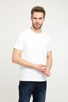 Erkek Giyim - BEYAZ XXL Beden Bisiklet Yaka Düz Slim Fit Tişört