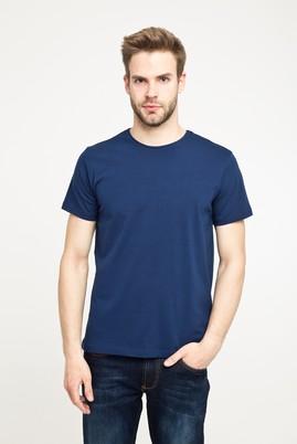 Erkek Giyim - ORTA LACİVERT S Beden Bisiklet Yaka Düz Regular Fit Tişört