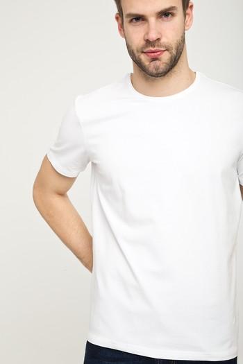 Erkek Giyim - Bisiklet Yaka Düz Slim Fit Tişört