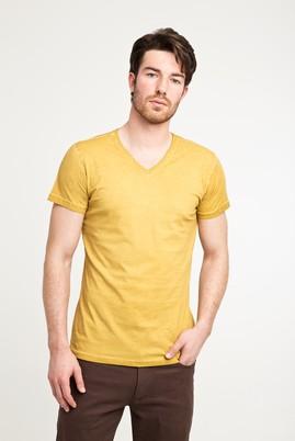 Erkek Giyim - AÇIK KAHVE - CAMEL XL Beden V Yaka Düz Slim Fit Tişört