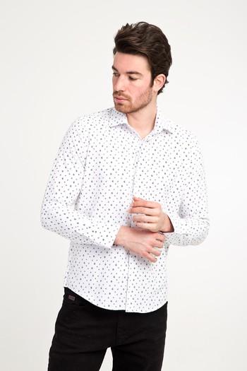 Erkek Giyim - Uzun Kol Desenli Slim Fit Gömlek