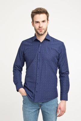 Erkek Giyim - ORTA LACİVERT L Beden Uzun Kol Desenli Slim Fit Gömlek