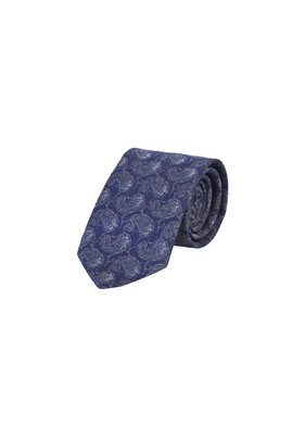 Erkek Giyim - ORTA LACİVERT  Beden Desenli Yünlü Kravat