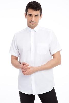 Erkek Giyim - BEYAZ 4X Beden Kısa Kol Desenli Klasik Gömlek