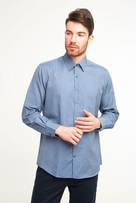Erkek Giyim - LACİVERT XL Beden Uzun Kol Desenli Gömlek