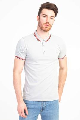 Erkek Giyim - ORTA FÜME L Beden Polo Yaka Nakışlı Slim Fit Tişört