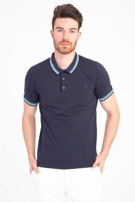 Erkek Giyim - ORTA LACİVERT M Beden Polo Yaka Nakışlı Slim Fit Tişört