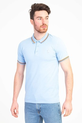 Erkek Giyim - GÖK MAVİSİ L Beden Polo Yaka Nakışlı Slim Fit Tişört