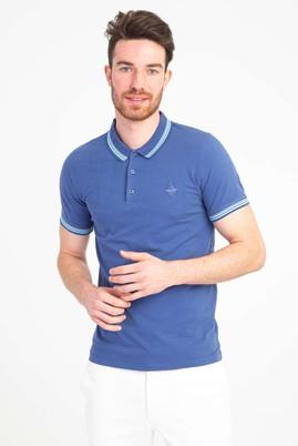Erkek Giyim - İNDİGO L Beden Polo Yaka Nakışlı Slim Fit Tişört
