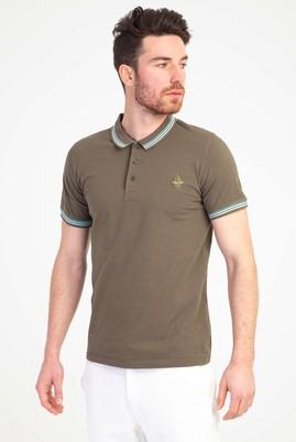 Erkek Giyim - ORTA HAKİ M Beden Polo Yaka Nakışlı Slim Fit Tişört