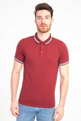 Erkek Giyim - VİŞNE L Beden Polo Yaka Nakışlı Slim Fit Tişört