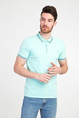 Erkek Giyim - ÇAĞLA YEŞİLİ L Beden Polo Yaka Nakışlı Slim Fit Tişört