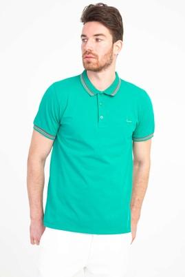 Erkek Giyim - KOYU YEŞİL LOT1 L Beden Polo Yaka Nakışlı Slim Fit Tişört