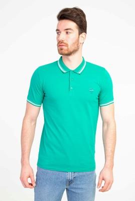 Erkek Giyim - ÇİMEN YEŞİLİ L Beden Polo Yaka Nakışlı Slim Fit Tişört