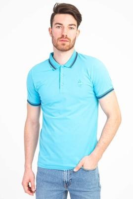 Erkek Giyim - AÇIK TURKUAZ L Beden Polo Yaka Nakışlı Slim Fit Tişört