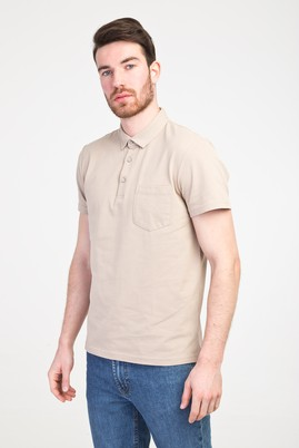 Erkek Giyim - BEJ S Beden Polo Yaka Regular Fit Tişört