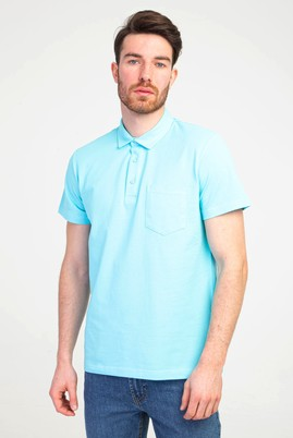 Erkek Giyim - MAVİ XXL Beden Polo Yaka Regular Fit Tişört