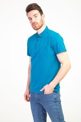 Erkek Giyim - PETROL L Beden Polo Yaka Regular Fit Tişört