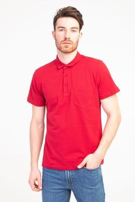 Erkek Giyim - KIRMIZI M Beden Polo Yaka Regular Fit Tişört