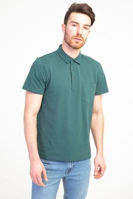 Erkek Giyim - KOYU YESİL S Beden Polo Yaka Regular Fit Tişört
