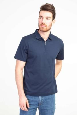 Erkek Giyim - AÇIK LACİVERT XL Beden Polo Yaka Fermuarlı Regular Fit Tişört