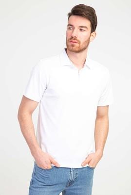 Erkek Giyim - BEYAZ M Beden Polo Yaka Fermuarlı Regular Fit Tişört