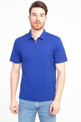 Erkek Giyim - SAKS MAVİ L Beden Polo Yaka Fermuarlı Regular Fit Tişört