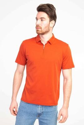 Erkek Giyim - ORTA TURUNCU S Beden Polo Yaka Fermuarlı Regular Fit Tişört