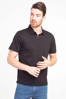 Erkek Giyim - SİYAH M Beden Polo Yaka Fermuarlı Regular Fit Tişört
