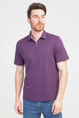 Erkek Giyim - MOR 3X Beden Polo Yaka Fermuarlı Regular Fit Tişört