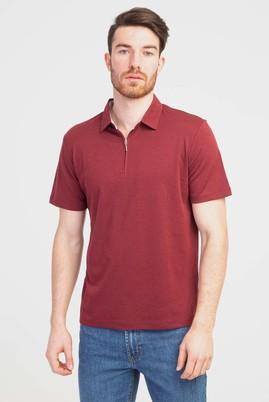 Erkek Giyim - KOYU BORDO 3X Beden Polo Yaka Fermuarlı Regular Fit Tişört