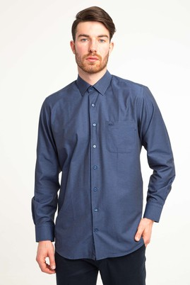 Erkek Giyim - KOYU LACİVERT L Beden Uzun Kol Klasik Desenli Gömlek