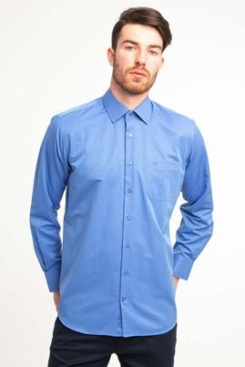Erkek Giyim - KOYU MAVİ XL Beden Uzun Kol Klasik Desenli Gömlek