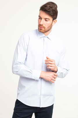 Erkek Giyim - AÇIK MAVİ XL Beden Uzun Kol Klasik Desenli Gömlek