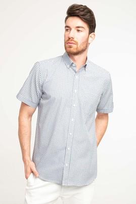 Erkek Giyim - LİMON SARI 3X Beden Kısa Kol Relax Fit Ekose Gömlek