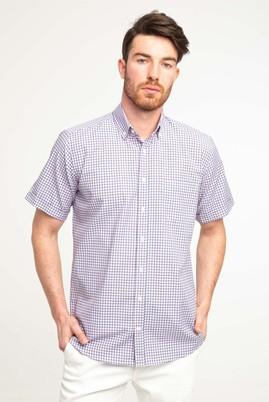 Erkek Giyim - BAYRAK KIRMIZI 3X Beden Kısa Kol Relax Fit Ekose Gömlek