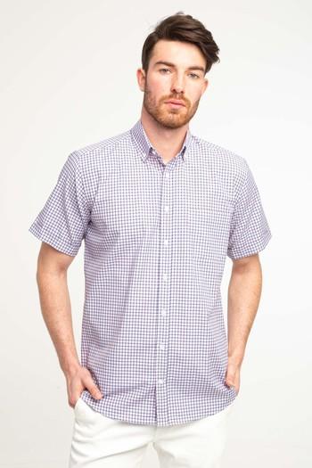 Erkek Giyim - Kısa Kol Relax Fit Ekose Gömlek