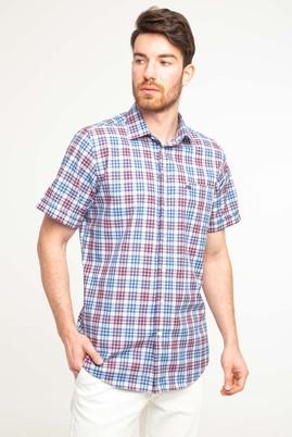 Erkek Giyim - MAVİ XL Beden Kısa Kol Regular Fit Ekose Gömlek