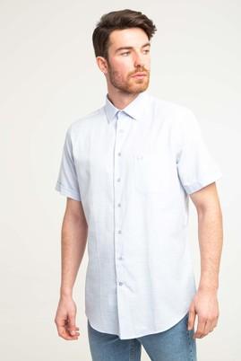 Erkek Giyim - UÇUK MAVİ 4X Beden Kısa Kol Klasik Desenli Gömlek