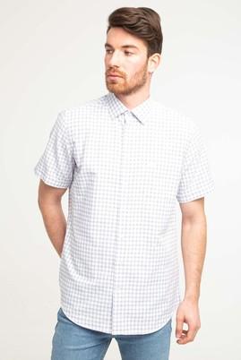 Erkek Giyim - KOYU BORDO 4X Beden Kısa Kol Klasik Desenli Gömlek