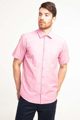 Erkek Giyim - ORTA PEMBE 4X Beden Kısa Kol Regular Fit Gömlek