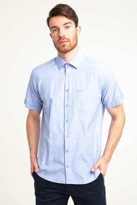Erkek Giyim - AQUA MAVİSİ 4X Beden Kısa Kol Klasik Gömlek